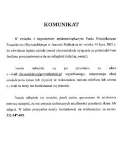Komunikat dot. porad prawnych