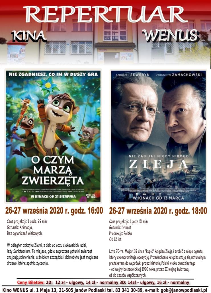 Repertuar kina WENUS wrzesień 2020
