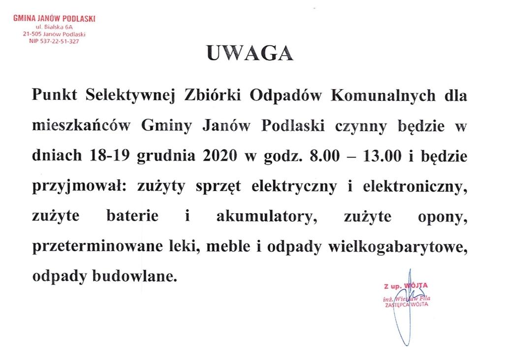 PSZOK Janów Podlaski informacja