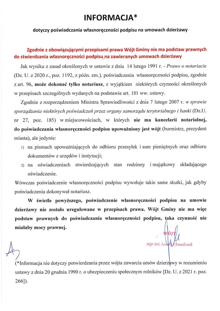 Informacja dot. poświadczenia podpisu