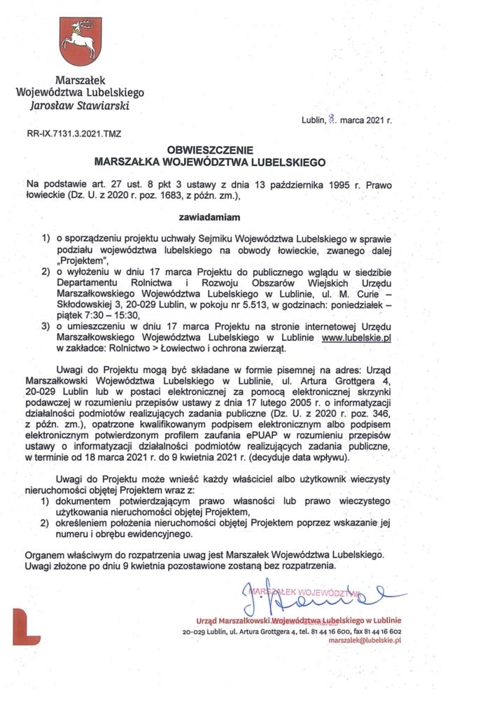 Obwieszczenie Urzedu marszałkowskiego