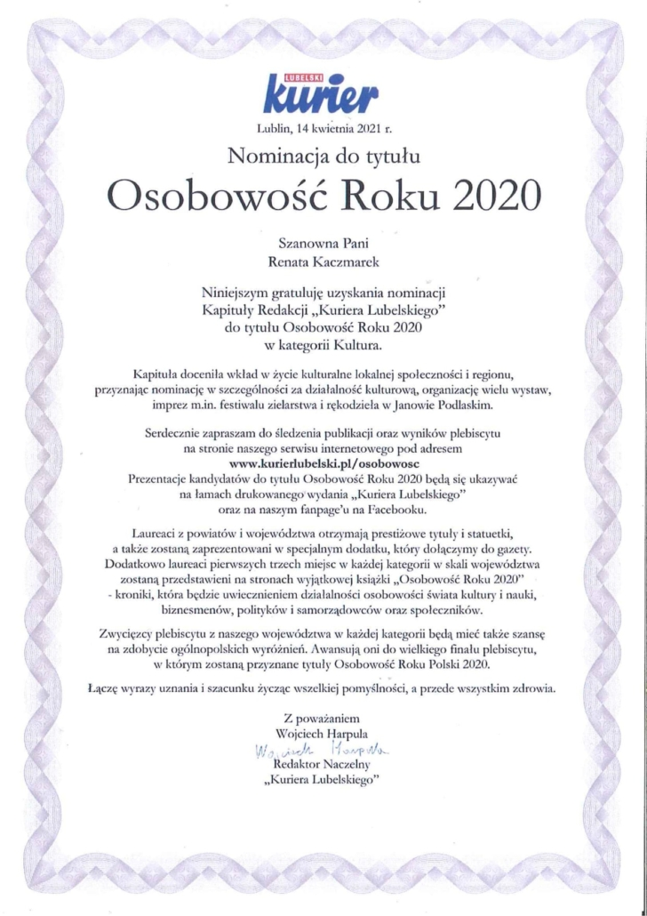 Nominacja osowowość roku 2020
