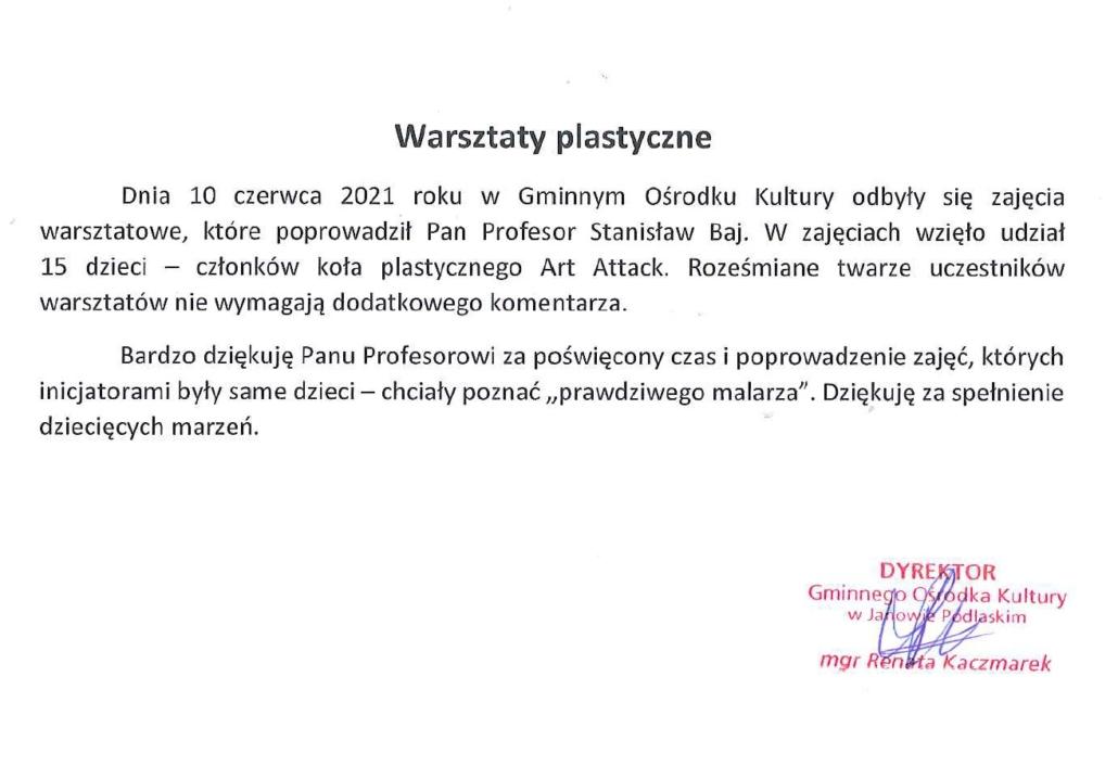Warsztaty plastyczne z prof. Bajem