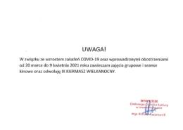 Inforacja o częściwym zawieszeniu działalności