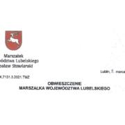 Obwieszczenie Marszałka Woj. Lubelskiego z dnia 8 marca 2021 r.